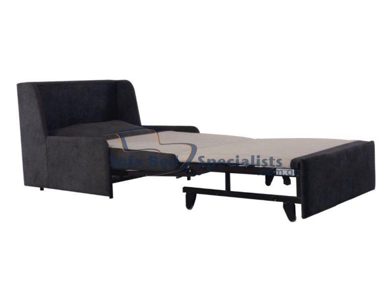 Single Armless Sofa Bed with Timber Slats in Daze Graphite
