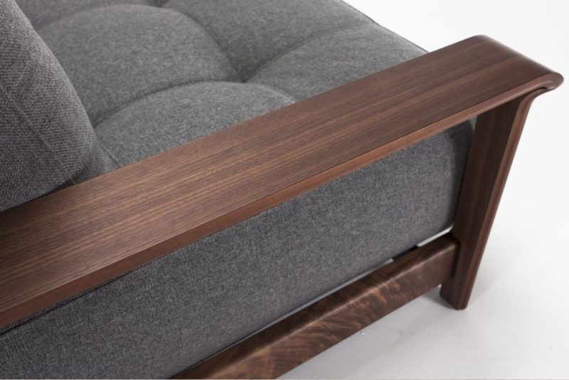 Close up of Walnut Arms on Ran Queen Size Sofa Bed